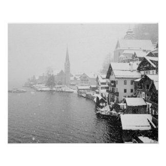 Europe, Austria, Hallstat. Town view in the snow Poster