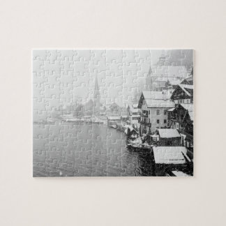 Europe, Austria, Hallstat. Town view in the snow Puzzle