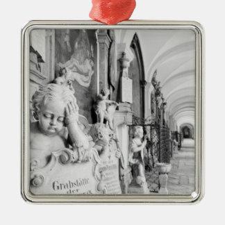 Europe, Austria, Salzburg. Cherub and monument Silver-Colored Square Decoration