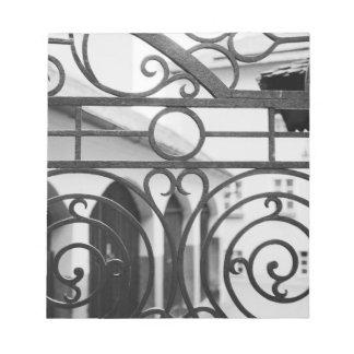 Europe, Austria, Salzburg. Detail of metal gate, Notepad