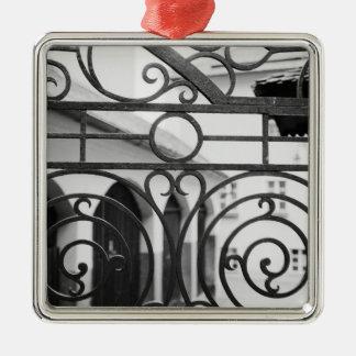 Europe, Austria, Salzburg. Detail of metal gate, Silver-Colored Square Decoration