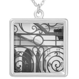 Europe, Austria, Salzburg. Detail of metal gate, Silver Plated Necklace
