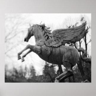 Europe, Austria, Salzburg. Winged horse statue, 2 Poster