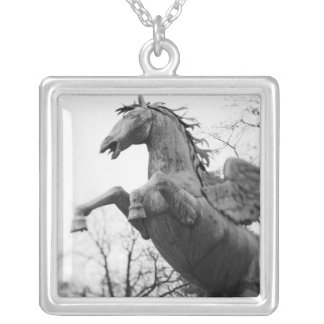 Europe, Austria, Salzburg. Winged horse statue, Silver Plated Necklace
