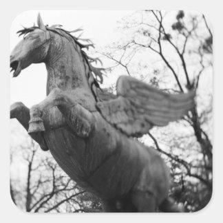 Europe, Austria, Salzburg. Winged horse statue, Square Sticker