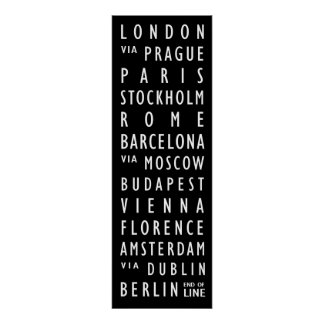 Europe Cities Vintage Transit Scroll Posters