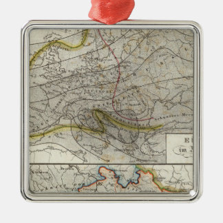 Europe Climate Map Silver-Colored Square Decoration