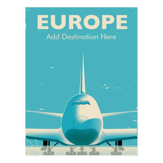 Europe Commercial airliner custom destination Postcard
