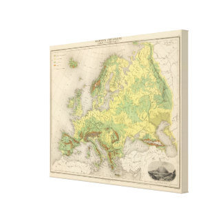Europe contour map canvas print
