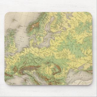 Europe contour map mouse pad