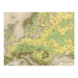 Europe contour map postcard