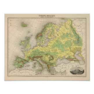 Europe contour map poster