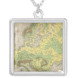 Europe contour map silver plated necklace
