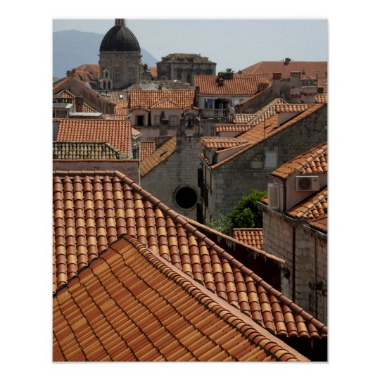 Europe, Croatia. Mediaeval walled city of 2 Poster