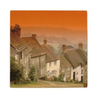 Europe, England, Dorset, Shaftesbury. Gold hill Maple Wood Coaster