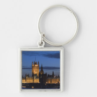 Europe, ENGLAND, London: Houses of Parliament / Silver-Colored Square Key Ring