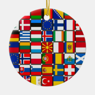 europe flags World and peace Christmas Tree Ornaments