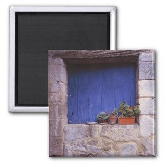 Europe, France, Cereste. A blue door adds color Square Magnet