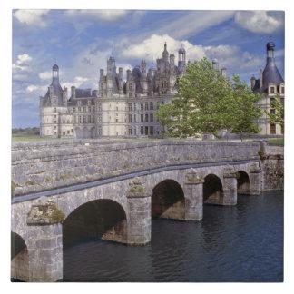 Europe, France, Chambord. A stone bridge leads Tile