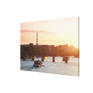 Europe, France, Paris (75), Tourist Boat on Canvas Print