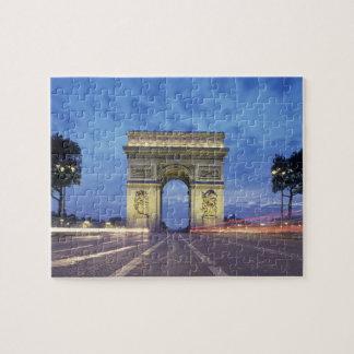 Europe, France, Paris. Arc de Triomphe as viewed Jigsaw Puzzle
