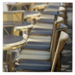 Europe, France, Paris, Beaubourg: Cafe Tables / Large Square Tile