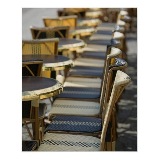 Europe, France, Paris, Beaubourg: Cafe Tables / Poster
