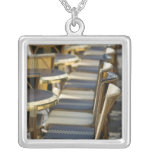 Europe, France, Paris, Beaubourg: Cafe Tables / Silver Plated Necklace