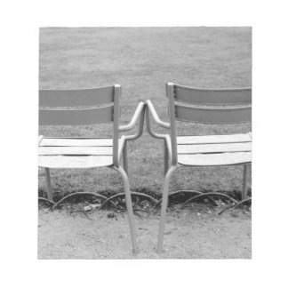 Europe, France, Paris. Chairs, Jardin du 2 Notepad