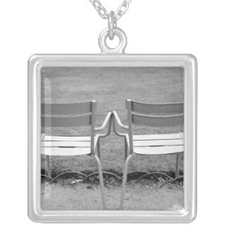 Europe, France, Paris. Chairs, Jardin du 2 Silver Plated Necklace