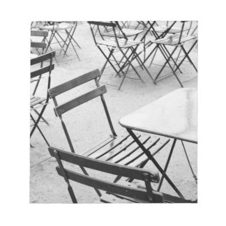 Europe, France, Paris. Chairs, Jardin du 3 Notepad