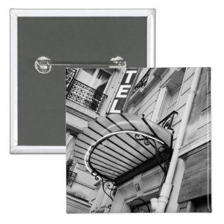 Europe, France, Paris. Detail of Left Bank hotel 15 Cm Square Badge