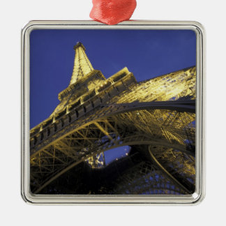 Europe, France, Paris, Eiffel Tower, evening 2 Silver-Colored Square Decoration