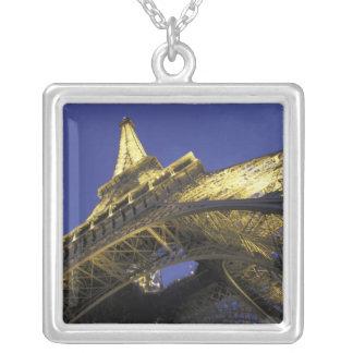 Europe, France, Paris, Eiffel Tower, evening 2 Square Pendant Necklace