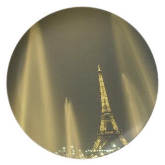 Europe, France, Paris, Eiffel Tower, evening Dinner Plate