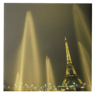 Europe, France, Paris, Eiffel Tower, evening Large Square Tile