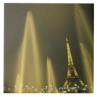 Europe, France, Paris, Eiffel Tower, evening Large Square Tile