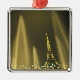 Europe, France, Paris, Eiffel Tower, evening Silver-Colored Square Decoration