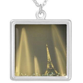 Europe, France, Paris, Eiffel Tower, evening Square Pendant Necklace