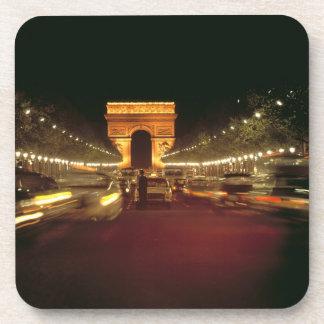 Europe, France, Paris. Evening traffic rushes Beverage Coaster