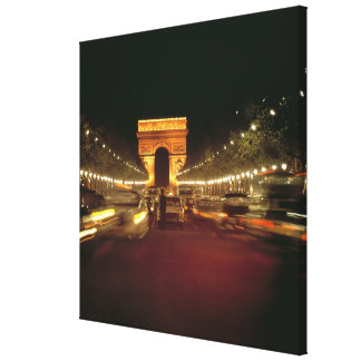 Europe, France, Paris. Evening traffic rushes Gallery Wrap Canvas