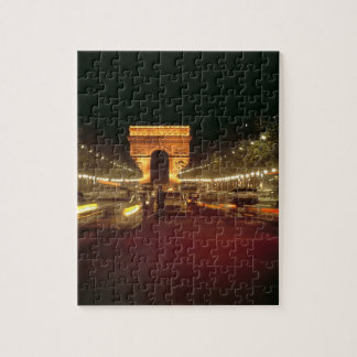 Europe, France, Paris. Evening traffic rushes Jigsaw Puzzle