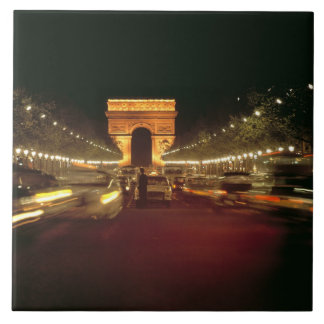 Europe, France, Paris. Evening traffic rushes Large Square Tile