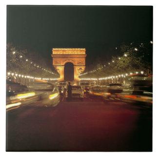 Europe, France, Paris. Evening traffic rushes Large Square Tile