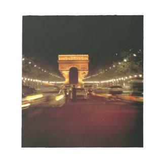 Europe, France, Paris. Evening traffic rushes Notepad