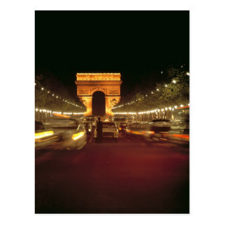 Europe, France, Paris. Evening traffic rushes Postcard