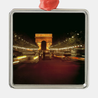 Europe, France, Paris. Evening traffic rushes Silver-Colored Square Decoration