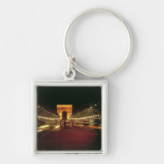 Europe, France, Paris. Evening traffic rushes Silver-Colored Square Key Ring