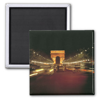 Europe, France, Paris. Evening traffic rushes Square Magnet