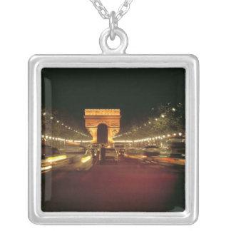 Europe, France, Paris. Evening traffic rushes Square Pendant Necklace